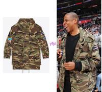 Wholesale Embellished Jackets - Fall-2016 Men streetwear Paris Oversized pixel-style rocket embroidery Rocket Embellished Camouflage Hood Parka Jacket