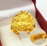 sello de oro real al por mayor-Vintage Lion Head Chinese dragon Anillos REAL STAMP 999 Oro amarillo Hombres Animal Sz a voluntad