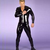 xl sexy leder catsuit großhandel-Großhandels-Neuer reizvoller Wäsche-Mann-Latex-Catsuit Faux-Leder-Knechtschafts-Body-Trikot Ganzanzug-Fetisch-Kostüme Erotische Wäsche plus Größe