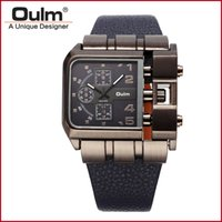 Wholesale Oulm Military - Military Quartz Watch Leather strap rectangle Dial Famous brand luxury Clock Men Wristwatch relogio masculino male Oulm 3364