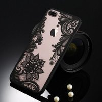 Wholesale Blue Floral Iphone Cases - Sexy Retro Floral Phone Case For Apple iPhone 7 6 6s 5 5s SE Plus Lace Flower Hard PC+TPU Cases Back Cover Capa For iPhone7Plus