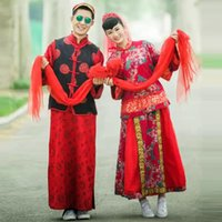 Wholesale Cheap Bride Costumes - Cheap Chinese traditional ancient wedding Tang costumes suits bride and groom toast dress clothing cheongsam gown Dragon clothing
