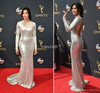 Wholesale Emmy Awards V Neck Ruffle - Sparkly Sliver Sequined Long Sleeves Prom Evening Gowns Sheath Padma Lakshmi 68th Annual Emmy Awards Red Carpet Celebrity Dresses Sexy Back