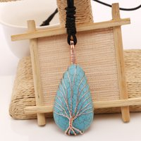 Wholesale Turquoise Blue Clothes - Fashion Sweater Chain Plating Copper Wire Winding Handmade Pendants Tree Of Life Blue Turquoise Stone Necklace Clothing All-Match