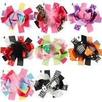 """Wholesale Spiked Headbands - Feather Ribbon hair Bows Children Hairpins 30pcs 4.5"""" spike boutique hair bows WITH CLIP kids girl gift headwear accessories B866"""
