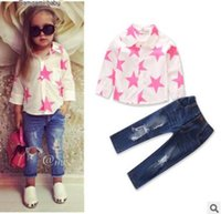 Wholesale Shirts Stars For Kids - Ins Girls Outfits for Baby Girls Clothing Sets Pink Star Shirt Tops Ripped Jeans 2 Piece Outfits Kids Clothing Toddler Baby Clothes 1-6Y