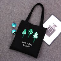 Wholesale Quality Marketing - Japan style black color canvas shopping bag for market high quality cheap price women shoulder bags new arrival