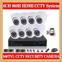 Wholesale Mobile Cctv Surveillance System - CIA- 8CH CCTV Security System 960H DVR 900TVL indoor dome Camera kit Video Surveillance System support pc mobile iphone cms view