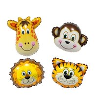 Wholesale Inflatable Baby Shower Decorations - Animal Head Foil Balloons Inflatable Air Balloon Happy Birthday Mini Party Decoration Kids Baby Shower Party Christmas Wedding Decorative