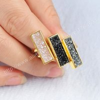 Wholesale Titanium Drusy Wholesale - Hot Rectangle Agate Titanium Druzy Ring Drusy Geode Jewelry Ring multi color fashion party gift for lady Z011