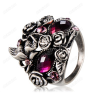 Wholesale High Quality Ancient Ring - Brand Cason New High Quality Purple crystal mask shape of ancient silver rings 4 size purple RJ-0002