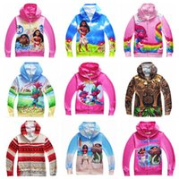 Wholesale Boys Cartoon Hoodies - 18 Designs Sweatshirts Boys Clothing Moana Jacket Kids Hoodies Girls Trolls Children Cartoon Autumn Clothing Zipper Outwear CCA6896 50pcs