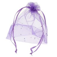 Wholesale Fine Packages - 50PCs 13x18cm Organza Gift Jewelry Bags Pouches Wedding Favor Purple Fine Gifts Storage Package Organizer