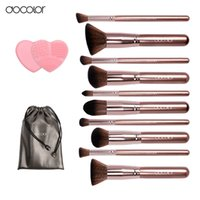 Docolor Make-up Pinsel 10Pcs Professionelle Marke machen Pinsel Set mit Beutel Kaffee Farbe mit Pinsel sauber Top Synthetik Haar