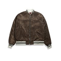 Wholesale Men Leader Jacket - 2017 new brown men's jacket American style Baseball Jacket The leader of the striped folds is placed in the hem
