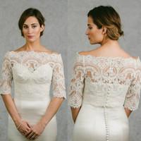 Wholesale Lace Wedding Dress Coats - Off Shoulder Cheap Bridal Wraps Half Sleeves Bridal Coat Lace Jackets Wedding Capes Wraps Bolero Jacket Wedding Dress Wraps Plus Size