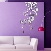 Wholesale Modern House Decorating - New house marriage room decorated living room TV backdrop wall stickers dimensional pattern decorative mirror new 2016 European
