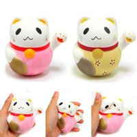 Wholesale New Toys Pussy - New 10CM Squishy Jumbo Kawaii Lucky Cat Pussy Animal Slow Rising Toys Soft Squeeze Stretchy Scented Bread Cake Kid Fun Toy Gift Doll