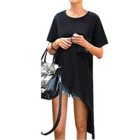 Wholesale Asymmetric Hem Casual Blouse - Blusas 2017 Summer Women Blouses Casual Loose Short Sleeve Asymmetric Hem Long Tops Shirts Oversized Blouse Plus Size M-4XL
