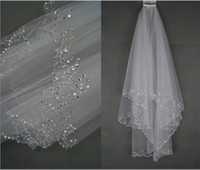 Wholesale perfect stockings - In Stock White&Ivory Bridal Wedding Veil 2 Layer Tulle Perfect Handmade Sequins Beaded Edge Hair Accessories Bridal Veils With Comb