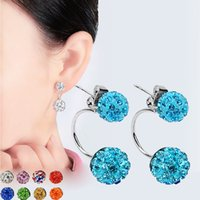 Wholesale Top Quality Nose Stud - New Double Side Earrings Fashion Crystal Disco Ball Shamballa Stud Earrings for Women Stainless Steel Bottom Top Quality Brincos