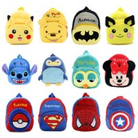 Wholesale Double Shoulder Strap - New Carton Plush Backpack Two Pockets Double Shoulder Straps Soft Plush For Girls Boys Unisex Kindergarten Bags