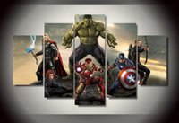 Wholesale Nude Male Painting - 5Pcs With Framed Printed The Avengers movie Painting on canvas room decoration print poster picture canvas framed male nude paintings