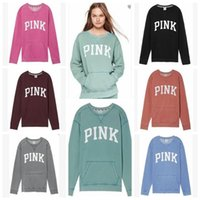 Wholesale Printed Hoodie Letters - 7 Colors PINK Letter Jackets Women PINK Coat Brand Hoodies Love Pink Sweatshirt Fashion Printed Pullover Loose Sportwear Tops CCA7375 10pcs