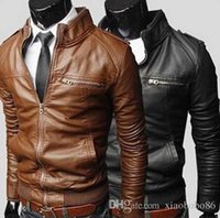 Wholesale Men Strip Clothes - Man leather jacket New pattern locomotive Leather clothing Men's wear Loose coat Men's leather Wholesale sales