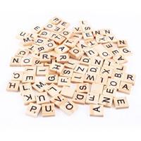 tahta tabanca oyuncakları toptan satış-100 adet / takım Ahşap Alfabe Scrabble Fayans Siyah Harfler El Sanatları Ahşap Için Numaraları