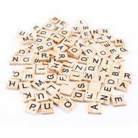 Wholesale craft numbers - 100pcs set Wooden Alphabet Scrabble Tiles Black Letters & Numbers For Crafts Wood