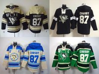 Wholesale Cheap Hoodie Free Shipping - Penguins hoodies 2016 cheap hockey jerseys hoody Pittsburgh CROSBY#87 cream black green 1pcs free shipping