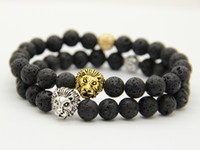 Wholesale mens gold beaded chain - 2016 New Mens Jewelry Wholesale 8mm Lava Rock Stone Beads Antique Silver&Real gold-plated Best Quality Lion Head Bracelet