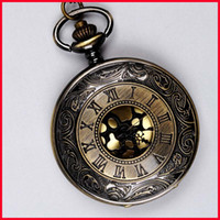 Wholesale clock locket necklaces - Ancient Bronze Roman Numeral Pocket Watches Necklaces Flip Locket Quartz Watch Clocks For women women jewelry Christmas gift 230217