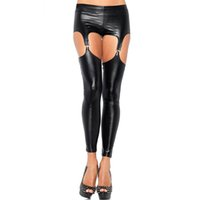 Wholesale sex women wearing leather for sale - Group buy Adult Games Flirting Fetish Wear Faux Leather Women Sexy Leggings with Garter Belt Wet Look Leggings Suspender Sex Products