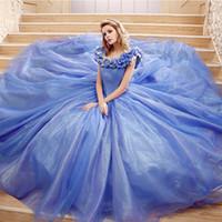 Wholesale Custom Made Dance Dresses - Blue Cinderella Women's Evening Gowns Custom Made Big Girls Prom Dance Ball Celebrity Sweet 15 Vestidos de quinceañera