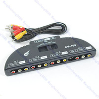 Wholesale Video Input Switch - Wholesale- J34 Free Shipping AV Audio Video Signal Switcher 4 Input 1 Output Switch