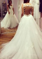 Wholesale Sweetheart Tulle Wedding Dress Ballgown - New Arrival Ballgown Sweetheart Spaghetti Strap Wedding Dresses Sweep Train Sexy Backless Bridal Gowns Custom Made