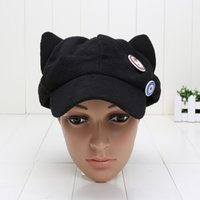Wholesale Asuka Langley - New Arrival Evangelion cosplay Asuka Langley Soryu hat and badges EVA Cat Ear Polar Fleece Hat Peak
