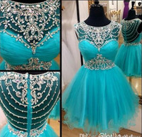 Wholesale Tulle Sparkle Homecoming Dress - Sweet 16 Aque Sparkle Short Prom Dresses With Crystals Blue Vestido De Festa Summer 2016 Party Homecoming Graduation Dress Gowns Custom Made