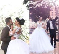 zuhair murad bodenlange kleider großhandel-Muslim Beliebte Ballkleid Brautkleider Formale Zuhair Murad Bodenlangen Vintage Hijab Rüschen Formale Langarm Brautkleid