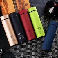 Wholesale Promotion Gift Custom - 5 Colors 450ml Life Water Bottle Thermos Cup Stainless Steel Cup Custom Promotion Gift Creative Water Cup CCA7126 20pcs