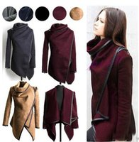 Wholesale Women Clothes Jack - Fashion Fall Winter Clothes for Women New European and American Wool & Blends Coats Ladies Trim Personality Asymmetric Rules Short Jack