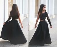 siyah küçük kıyafet elbiseleri toptan satış-2016 Siyah A-line İki Adet Saten Küçük kızın Alayı Elbiseler Tek Omuz Dantel Boncuklu Çiçek Kız Parti Elbiseler