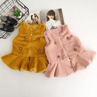 Wholesale Korean Winter Fashion Vest Coat - Everweekend Kids Girls Western Korean Fashion Pearls Outwears Sweet Princess Coats Pink Yellow Ruffles Tutu Vest Coats