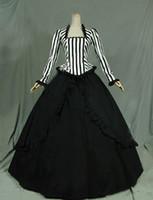 Wholesale Retro Dress Costume - Customized 2016 Retro White Black Civil War Victorian Steampunk Black White Stripes Ball Gown Dress Reenactment Stage Costume