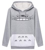sudaderas totoro al por mayor-Raisevern 3D gruesa sudadera Harajuku de dibujos animados Totoro Animal cat Imprimir mujeres Cosplay sudadera con capucha de primavera y otoño ropa exterior de algodón tops