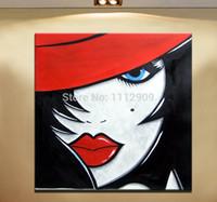 ingrosso pitture astratte di arte tela gratis-Spedizione gratuita Handmade Phoenix Decor-Abstract Canvas Wall Art Dipinti ad olio su tela Decorazione dipinti di donne in Red hat