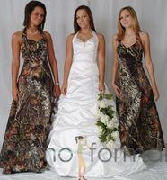 vestidos de noiva sábios venda por atacado-Moda Camuflagem Vestidos de Dama de honra 2016 Halter Uma Linha Sweep Trem Camo Vestido de Festa de Casamento Sem Mangas Longo Vestido de Dama de honra