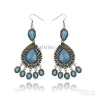 Wholesale Turquoise Hoop Earring Wholesale - Free shipping new arrival palace retro water droplets tassel earrings ,2013 woman fashion turquoise earrings whosaler price